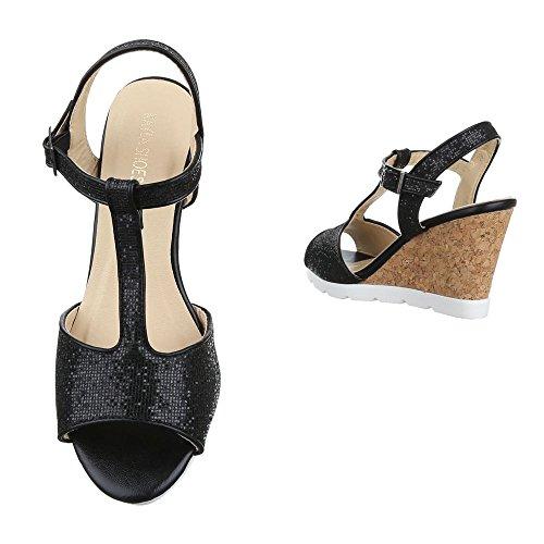 Keilsandaletten Damen Schuhe Plateau Keilabsatz/ Wedge Keilabsatz Schnalle Ital-Design Sandalen / Sandaletten Schwarz