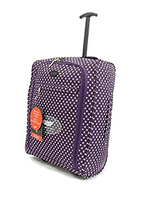 Super Lightweight Cabin Approved Luggage Travel Wheelie Bag suitcase Trolley Cabin Approved Case 50x40x20 Easyjet Ryanair (Purple Dots)
