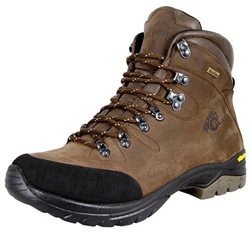 GUGGEN MOUNTAIN Gli uomini scarpe da trekking scarpe da trekking alpinismo Stivali scarponi da montagna impermeabili con suola Vibram HPM50, Colore Marrone, EU 45