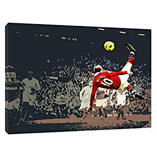 WAYNE ROONEY MANCHESTER UNITED ROVESCIATA PRINT ON FRAMED CANVAS WALL ART 20 x 16 inch -38mm depth