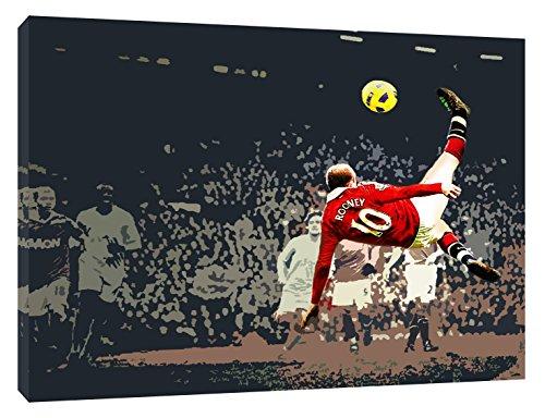 ARTSPRINTS Wayne Rooney Manchester United Rovesciata Kunstdruck auf Leinwand, gerahmt, 30 x 24 inch-18mm Depth -