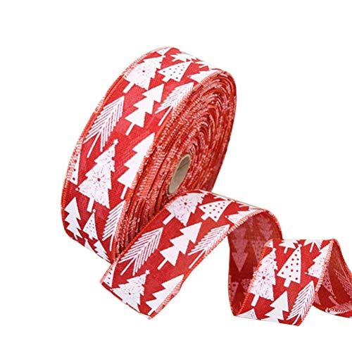 Bestoyard nastro di juta nastri tela runner da tavolo per natale decorazioni addobbi di natale 2m (rosso)