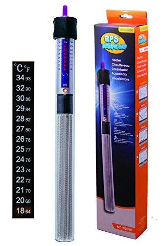 BPS (R) Calentador Sumergible para Pecera 300W - 37cm con Un Termómetro Digital Adhesivo.BPS-6056