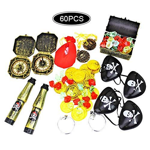 mciskin Piraten-Partybedarf und Piratenbevorzugungs-Spielzeugbündel. 60-teiliges Komplettset mit Piraten-Schatzkiste, Münzen, Teleskopen, Augenklappen, Kompass-Edelsteinen und Ohrringen (Die Schatztruhe Juwelen)