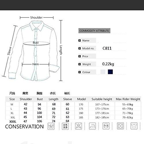 Honghu Homme Casual Slim Fit Manches Longues Tricolore Chemise Bleu Marine