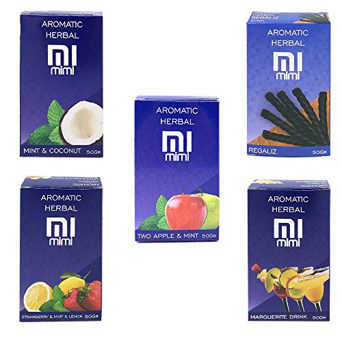 5 Pack x 50 g Assorted Flavour Hibron Grass for Shisha Hookah without  Nicotine Kit 5 Mint, Lemon-Mint, Cola, Mojito, Energy Drink