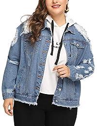 Talla Grande Chaquetas Vaquera para Mujer Moda Agujero Roto Abrigo Blazers Coat Corto Outerwear Manga Larga