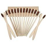 Spazzolino da denti in bambù, ecologico, in legno, realizzato con morbide setole infuse di carbone di bambù, colore: marrone