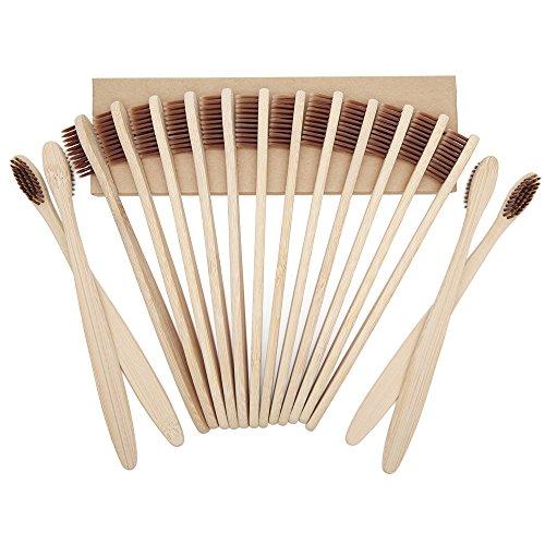 Progoco Brosse à dents en bambou Poils souples et brosses à dents en bois numérotées...