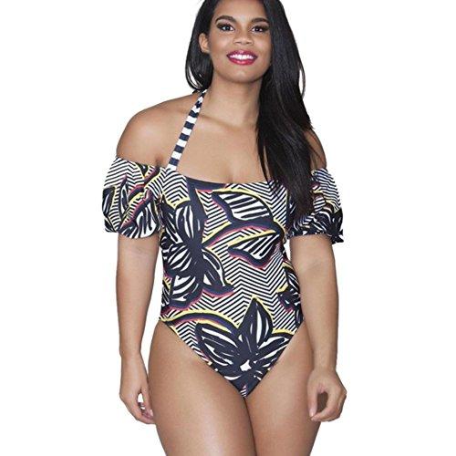 Smileq Femme Taille plus Maillot de bain une pièce Bandage Push Up Monokini Bikini à rayures Halter maillots de bain Off épaule Maillot de bain, Noir , x-large