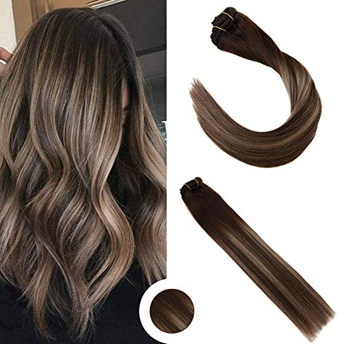 Ugeat 22 Zoll/55cm Clip in Extensions Echthaar #4/18/4 Dark Brown Mit Ash Blonde Ombre Remy Echthaar Extensions Clip in Haarverlangerung 140g