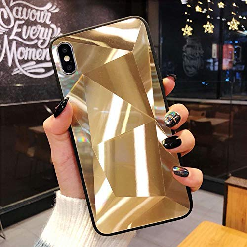 SHFIVES Bright Diamond Case für iPhone 7 Hülle 3D Hardcover für iPhone XS Max XR 6 6S 8 Plus 7 Plus Hülle iPhone 8 Hülle, Gold, für iPhone 8 Plus