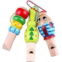 Yeahibaby 3pcs silbatos animales de dibujos animados de madera instrumento de música educativa suena el juguete para los niños del bebé (color al azar)