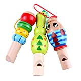 #10: TOYMYTOY 3pcs Wooden Cartoon Whistles Children Animal Wooden Noisemaker Music Instrument Sounds Toy for Party (Random Color)