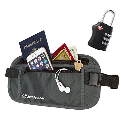 RFID-Blocker Geldgürtel | Reise-Bauchtasche mit 8 Taschen | Gürteltasche für Damen & Herren | Incl. Gratis Zahlen Schloss (Schwarz) Schwarz
