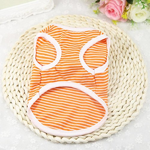 ღ ninasill ღ Pet Hund Hunde/Welpen Classic Weste T-Shirt Kleidung Gestreift Weste Bekleidung Orange Orange XX-Large