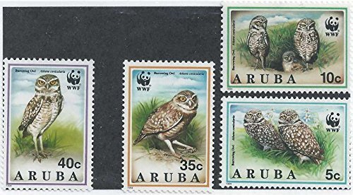 aruba-1994-world-wildlife-fund-burrowing-owls-mint-4-stamp-set-1s-001-by-united-states-of-america