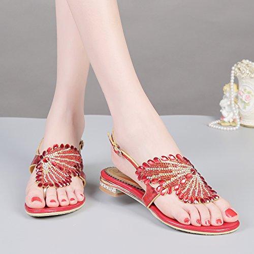 Honeystore Funkelnde Glitzer Niederiger Absatz Sandalen mit Strass Kristall Schuhe Rot