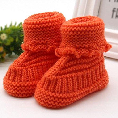 Vovotrade Weich und bequem Kleinkind neugeborene Baby-Knitting Lace Crochet Schuhe Buckle Handcrafted Schuhe (Grün) Orange