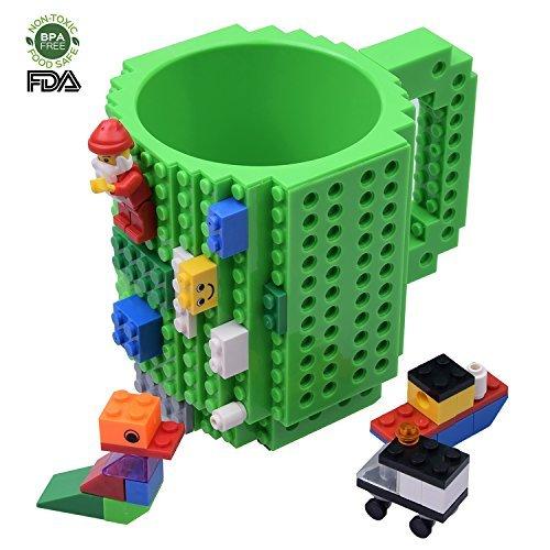 Kyonne lego mug, costruire sul mattone tazza di caffè, tazza regalo per adulti, festa del papà regalo (verde)