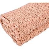 cheerfulus Handmade–Ovillo de lana de punto manta sofá manta de punto manta voluminoso gigante, caqui, 100*120