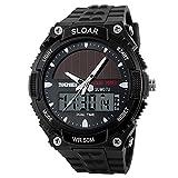 SKMEI–Solar Power Dual Time display orologio da polso, 50,3m, resistente all' acqua, colore: Nero