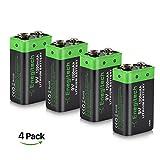 Batteriol 9V Block Batterie Akku Lithium 1200mAh...