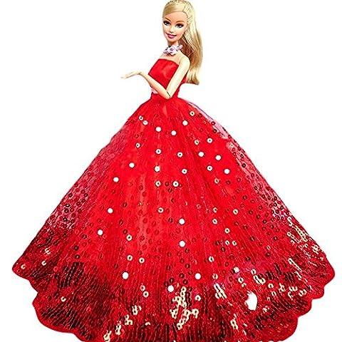 Youvinson Verschiedene Handmade Brautkleider und Kleider für Barbie-Puppen (Bling Rot)