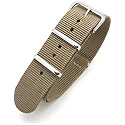Khaki Brown Infantry Military MoD NATO Nylon Fabric GENERIC G10 4 Rings Watch Strap Band Chrome Buckle
