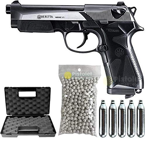 Umarex Airsoft Pack Beretta 90 Two Co2-Beretta 25913- Semi Automatik (0,5 Joule) -mit Zubehör -