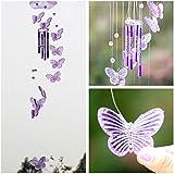 SOLEDI Carillons à vent dePapillon Wind chime Ornement Hanging Cadeau Art Décor de jardin Salon (Violet)