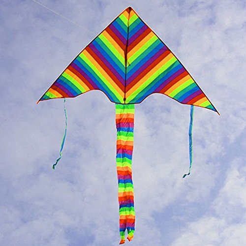TOAOB Durable Rainbow Flyer Kite for Kids and Adults - Huge Size and Best Easy Flyer Huge Rainbow Kite