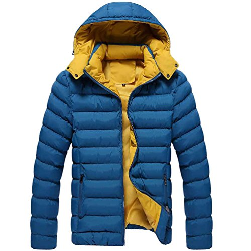 Lvrao giubbotto uomo giacca con cappuccio caldo invernale parka traspirante antivento cappotto (lago blu, cn xl)