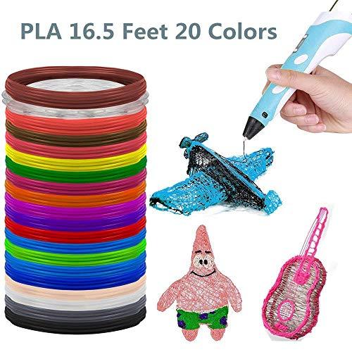 3D Stylo Fils Filament PLA 1.75mm 20 PCS, Longueur Totale DE 20 PCS 100m pour Stylo à l'impression 3D 20 Couleurs Chaque PCS 5m.