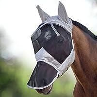 Harrison Howard CareMaster Máscara Anti-moscas Protección con orejas y nariz Plata/Negro (M; Cob)