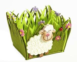 Brauns-Heitmann 62668 Corbeille en feutrine Motif mouton Vert 13 x 11,5 x 10,5 cm