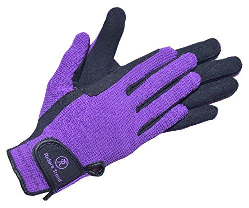 Riders Trend Unisex Reithandschuhe aus Amara/Baumwolle, unisex, Amara/Cotton Horse, schwarz/violett