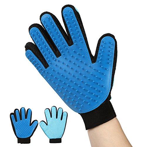 Hommii 2-1 Tierhaar Handschuh Entferner 2-Seitiger Massagehandschuh Hunde Katzen Fellpflege Gummi Grooming Deshedding