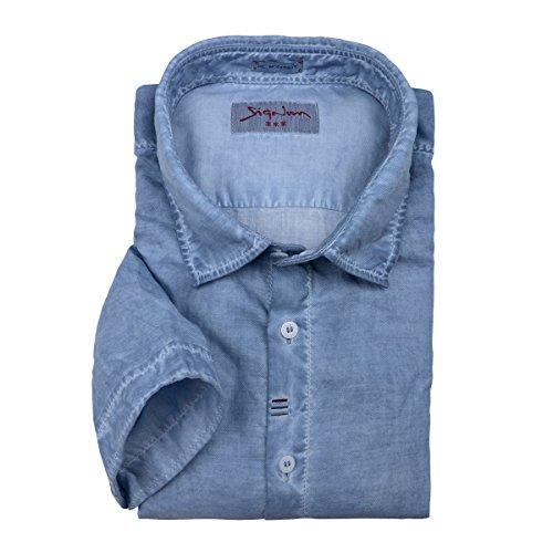 Signum jeansblaues Vintage Kurzarmhemd Übergröße Blau