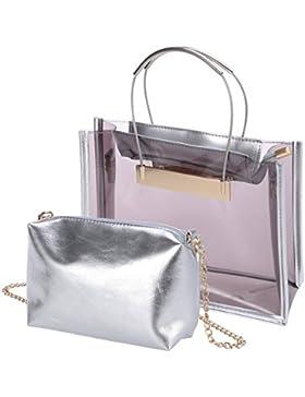 LUOEM Transparente Handtasche Umhängetasche moderne Strand Freizeit Handbag 2-Taschen Einkaufstasche (Hellbraun)