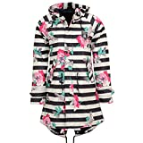 Derbe Damen Regenjacke Travel Friese Flower blau weiss gestreift Regenmantel - 34