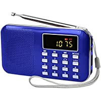 Radioddity L-908 Mini Digital AM FM LCD Radio Speaker, Micro SD/TF USB Disk Speaker MP3 Music Player Stereo, Portable Pocket Novelty Radio Receiver, Handheld CB Radio Transceiver, Blue