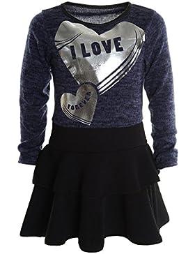 Mädchen Kinder Spitze Winter Kleid Peticoatkleid Festkleid Lang Arm Kostüm 20798