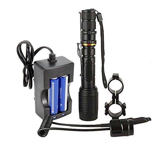 Maketheone Military XML T6 LED Taschenlampe Leistungsstarke Hell 1000 Lumen mit Kabelfernbedienung für Jagd und Angeln