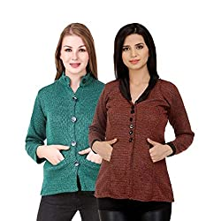 Kritika World Womens Wool Cardigan Dress (COAT_NEHRU_OCOAT_MAROON_Maroon_Large)