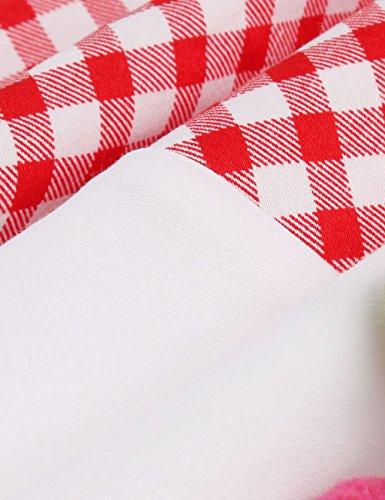 VKStar® 50er Rockabilly Kariert Kleid Petticoat Vintage ärmellos Kirschen Abendkleid Rot S - 5