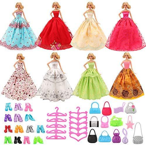 Miunana 37 pezzi accessori per bambola barbie dolls (7 abiti vestiti da sposa + 10 pcs scarpe + 10 borse + 10 appendini)