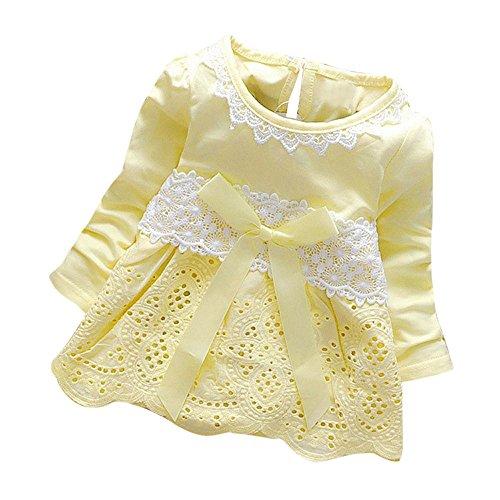 (Kinderkleid Honestyi Baby Mädchen Lange Hülsen Partei Spitze Blumen Bogen Prinzessin Dress Kids Clothes (Gelb,XL))