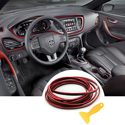 Automobile Car Filler Trim Strip Line,YY-LC Easy Push-In Removable 3D DIY Car Styling Interior Exterior Article Decoration Mouldings Trim, For Universal Car Accessory 16.4 feet,Red
