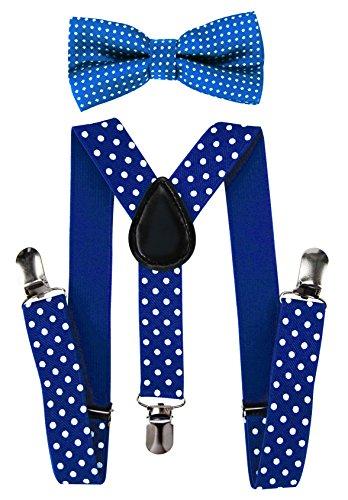 axy Hochwertige Kinder Hosenträger-Y Form mit Fliege- 3 Clips EXTRA STARK-Uni Farben (Dunkelblau-Weiße Punkte) - Kinder Hosenträger Für Große